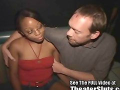 A 19 year old sweet chocolate slut kim has never been to a porn theater before