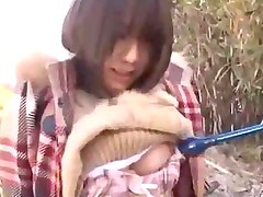 Busty Girl Getting Her Pussy Stimulated With Vibrator Fingered On The Blanket Outside In The Forest