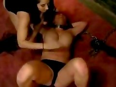 Busty Girl With Collar And High Heels Masturbating Sucking Her Mistress Toes Fucked With Toes In The Dungeon