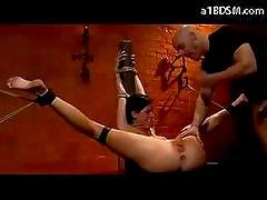 slave with butterfly tattoo tied up and fucked