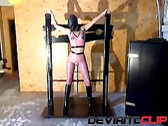 Latex fetish masturbation with dildo in torture basement