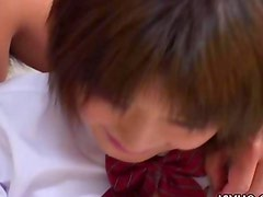 Japanese schoolgirl teen gets her tight shaved Asian pussy fucked hard