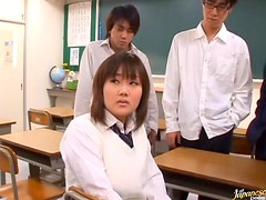 Japanese Teen gets Hardcore Pounded by Male Classmates