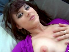 Horny Brunette Plays with Glass Dildo