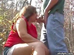 Bbw Enjoys A Good Cock Sucking Outdoor Experience