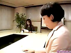 Mature Woman Kissing Sucking Young Girl Nipples Toes And Strapon On The Chair In The Meeting Room