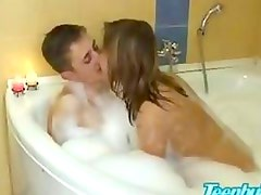Brother seduce cute teen cousin into taboo creampie sex in bathroom