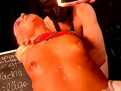 Mistress chick plays with girl and man bsdm fun
