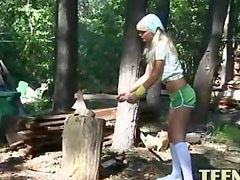 Petite 18yo chick Loly naked outdoors
