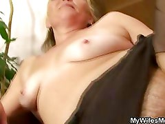 Horny granny opens hairy pussy for hot young son in law cock