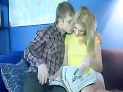 Adorable Australian Blonde Teen Creampie Couple sex on Couch