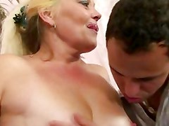 Blonde granny gets her pussy slammed