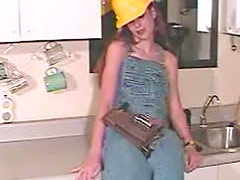 Pink dildo fucks lady construction worker