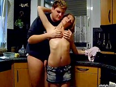 Cute Couple Have A Hardcore Shag In The Kitchen