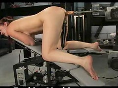 Hot Babe Rubs Her Clit and Getting Fucked by a Machine
