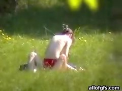 Horny Naked Couple in the park Exposed by a Passerby