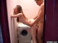 Blonde Girl Getting Fucked In The Laundry Room In A Homemade Clip