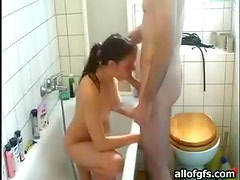 Amateur Brunette Enjoys Giving Hot Blowjob In A Bathtub