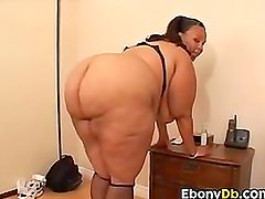 Fat Ebony Woman Enjoying A White Cock
