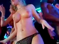 Sexy babes dances and fucks in public