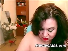 Brunette horny mature fingering on webcam