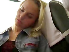Blond girl bates in the bus