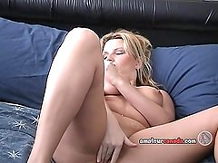 Blonde freckled wife fingers chubby pussy