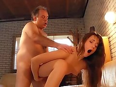 Hairy Chested Grandpa Fucks Teen With tight Pussy and Gets his cock sucked