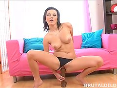Hot brunette Vanessa Decker fucking a big brutal dildo