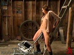 Horny Cowgirl Gets A Ride On A Great Sex Machine