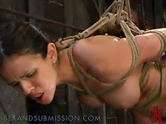 Brunette Swallows A Hard Cock In BDSM Clip