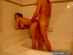 Shower Humping With A Horny Couple In A Homemade Video