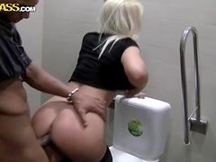 Gorgeously Cute Blonde Is Fucked In A Threesome In A Public Restroom