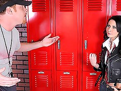 Perfect brunette schoolgirl lets her coach lick and poke her pussy