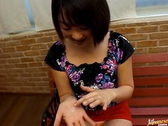 Semen - Asian Babe Gives a Blowjob and Spits The Cum On Her Hands
