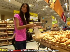 Unbelievable Blowjob From A Hot Brunette In A Supermarket