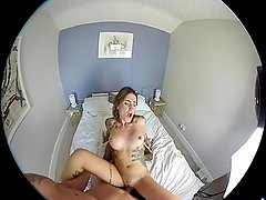 POV, 3D VR porn, Double penetration, DP Adreena winters with Dru Hermes
