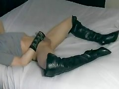 Femboy Leather & Lace Striptease In Bed