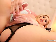 Samantha Saint does a sexy solo in lingerie