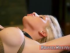 Blonde anal queen hot stockings handjob