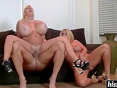 Two blonde MILFs take care of him