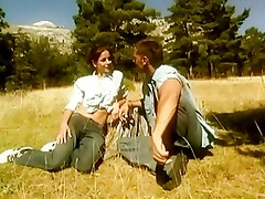 nice young couple have sex in nature