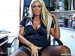 Blonde office boss Lucy Zara teases big tits stockings little black panties