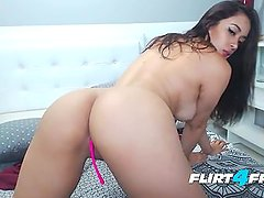 Flirt4Free Hot Latina Stacy Dominguez Sucks and Fucks a Lucky Dildo