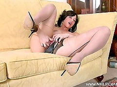 Babe Tracy Rose wanks pussy in black seam pantyhose high heels and panties
