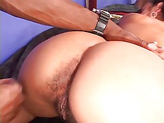Hot girl gets her tits sucked and hairy pussy licked by black guy