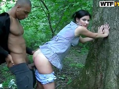 Horny Brunette Has Her Ass Drilled Outdoors By A Black Cock