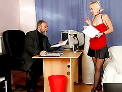 Cute secretary fucking her old boss for raise