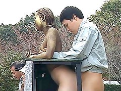 Cute girl modeling gets fucked in public at the park