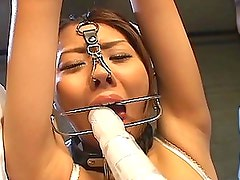 Syokora Satou is bound in the dungeon so two guys can fuck her